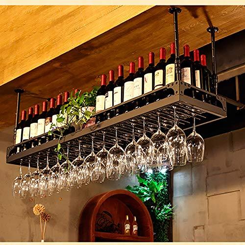 Estantes colgantes para copas de vino Taller de vino de metal colgante de bronce, soporte de cristal de vino de colgante de hierro ajustable de 30 a 60 cm, estante de vino extendido con barandilla Org