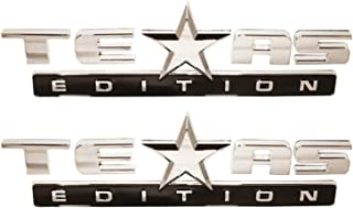 Muzzys (SET OF TWO) CHROME and BLACK Texas Edition 3M Stick On Emblem Badge FITS GMC Sierra Chevy Silverado Sierra Suburban Tahoe Ford F150 Dodge Ram Nissan Titan Truck