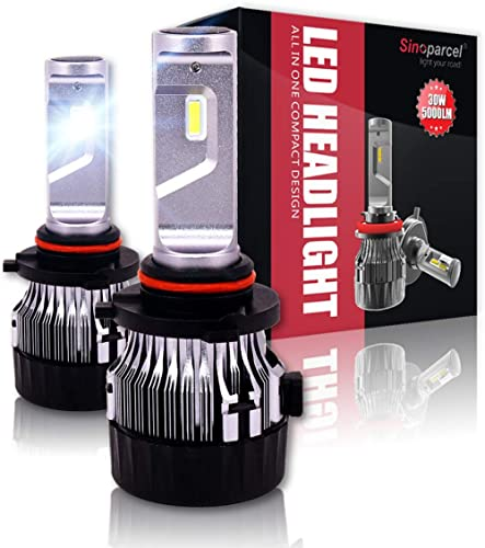Sinoparcel 9005/HB3 LED Headlight Bulbs -10000LM 2 Yrs WTY- Halogen Replacement Light Conversion Kits,Pack of 2