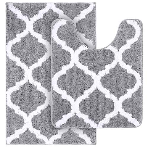 "Olanly Bathroom Rugs Set 2 Piece Microfiber Bath Shower Mat and U-Shaped Toilet Rug, Machine Wash Dry, Non Slip Absorbent Shaggy Bath Rug for Tub, Shower and Bath Room (20"" x 32""+20"" x 24"", Grey)"