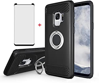 Samsung Galaxy S9 Phone Case with Tempered Glass Screen Protector Magnetic Ring Holder Stand Kickstand Hybrid Protective Cell Accessories Hard Cover for Glaxay S 9 Edge Galazy 9S GS9 Women Girls Men