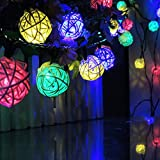 DINOWIN Rattan Ball, Solar Rottan Rattan grobe 20ft 30 LED Waterproof Solar Ball Lights for Gardens, Homes Decoratio (Multicolor)