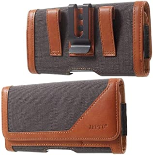 DFV mobile - Case Metal Belt Clip Horizontal New Design Textile and Leather for HTC Desire 19s (2019) - Gray/Brown