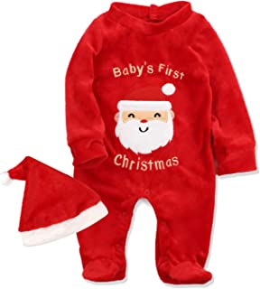 Von kilizo Christmas Footed Cotton Pajamas for Baby & Infant My 1st Christmas Romper with Matching Santa Hat