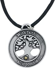 Tree and Mustard Seed Pendant - Faith Moves Mountains - 22 inch Black Cord