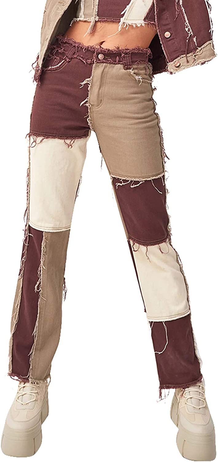 Womens Patchwork Jeans High Waist Stretch Distressed Straight Denim A-line Vintage Pencil Trousers Skinny Leggings Pants