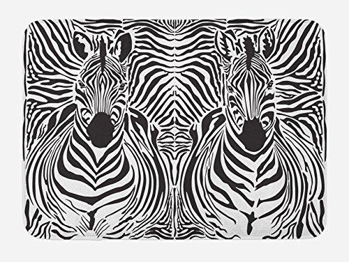 Ambesonne Tapis de bain imprimé zèbre - Fond de peau de zèbre mélangé sur têtes de zèbre - Tapis de décoration de salle de bain en peluche avec dos antidérapant - 74,9 x 44,5 cm - Noir et blanc