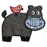 TrickyBoo 2 Ecussons Hippopotame 9X7Cm Hippocampe 6X10Cm Patch Appliques thermocollant Brode...