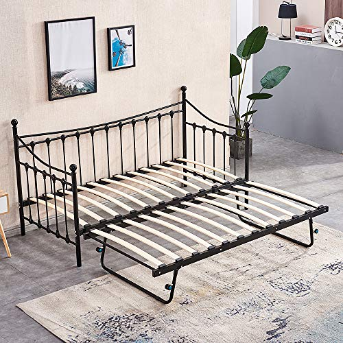 BOJU Black 3FT Single Day Bed with Trundle Space Saving Bed Frame for Kids Bedroom Guest Room Metal Bedstead Victorian Style Sofa Bed Frame