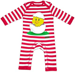 HARIZ Baby Strampler Streifen Küken Schlüpft Süß Tiere Dschungel Inkl. Geschenk Karte Feuerwehr Rot/Washed Weiß 3-6 Monate