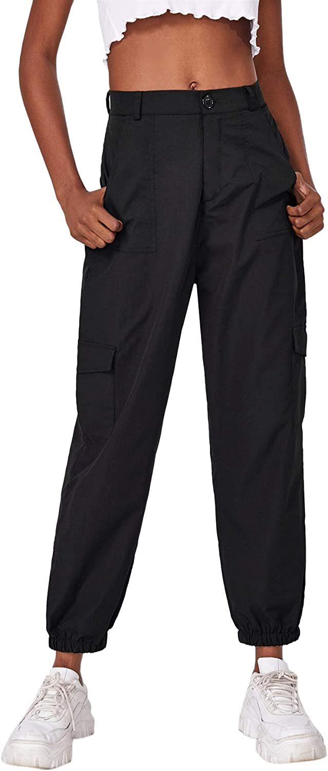Milumia Women's Casual Button Zipper Front Solid Cargo Pants with Pockets