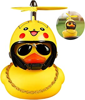 wonuu Rubber Duck Toy Car Ornaments Yellow Duck Car Dashboard Decorations with Take-Copter Helmet for Adults, Kids, Women, Men