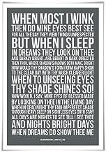 Sonnet 43 William Shakespeare Quote Poster. 60 Colours/3 Sizes. Poem Literary Art Romantic Love Literature