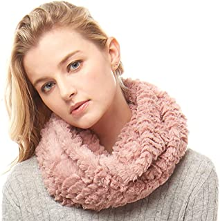 Women's Winter Soft Faux Fur Solid and Animal Print Neck Warmer Infinity Loop Circle Scarf
