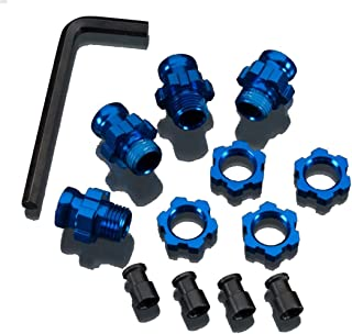 Traxxas 5853X Blue-Anodized Aluminum 17mm Wheel Hub adapters, (set of 4)