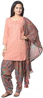 Peach Colored Solid Cotton Salwar Suit