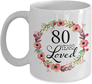 80th Birthday Gifts for Women - Gift for 80 Year Old Female - 80 Years Loved Since 1939 - White Coffee Mug for Wife Mom Nana Grandma Her