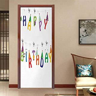 Birthday Vinyl Carving Decal Sticker Celebration Cute Colorful Letters on Ropes Funny Faces Pointy Party Hats for Kids It is self-Adhesive Multicolor W23.6 x H78.7 INCH