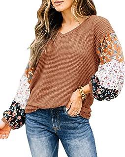 Blusa feminina de patchwork Boho, blusa, blusa de tricô com mangas bufantes e laço em V para o verão