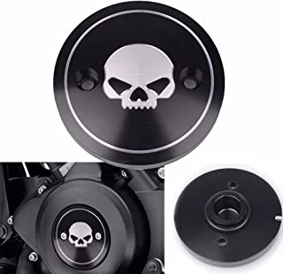 Frenshion Compatible for Motorcycle CNC Left Skull Clutch Cover Derby Timer Timing Cover for Harley Street XG750 XG500 2015-2016 Black