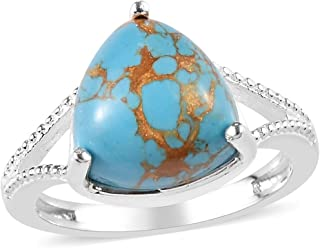 Womens 925 Sterling Silver Blue Turquoise Statement Ring for Women Southwest Style Jewelry Gift Size (5/6/7/8/9/10) (Trillion/Square)