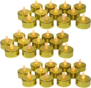 Gold LED Tea Light Candles - Set of 48 Flame Free Metallic Gold LED Candles with a Flickering Flame - 50th Wedding Anniversary - Gold Wedding Decorations - Christmas Decor
