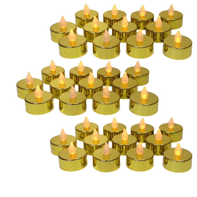 ふくろう必須創造(48, Gold) - Gold Candles - set of 48 Gold Flame Free Tea Lights - Metallic Gold LED Candles with a Flickering Flame - 50th Wedding Anniversary - Gold Wedding Decorations - Kitchen Decorations