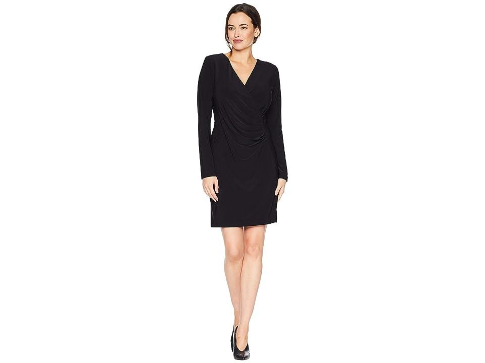 Karen Kane Faux Wrap Dress (Black) Women