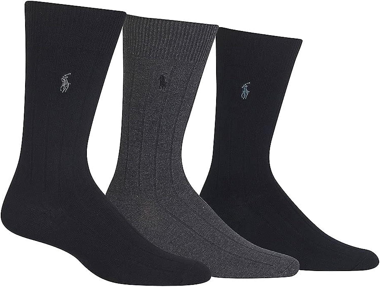 Polo Ralph Lauren Mens Ribbed Custom Fit Crew Socks