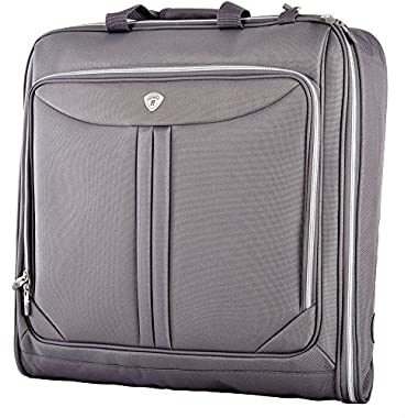 Olympia Luggage Deluxe Garment Bag, Grey