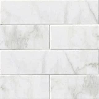 GLOSSY WHITE CARRARA Subway Backsplash Tile Ceramic 4