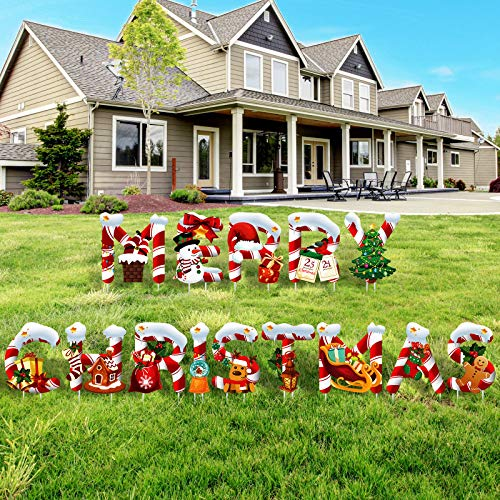 14 Pieces Merry Christmas Letter Yard Sign Xmas Outdoor Lawn Decorations Holiday and Christmas Party Yard Signs Santa Snowman Design Garden Lawn Stakes for Outdoor Patio Winter Ornaments