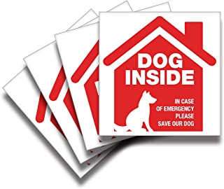 iSYFIX Dog Inside Alert Signs Stickers – 4 Pack 5x5 Inch – Premium Self-Adhesive Vinyl, Laminated for Ultimate UV, Weather...