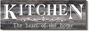 Wood Kitchen Sign, Funy Kitchen Wall Decor - The Heart of The Home, Rustic Decorative Signs Wall Hanging for Home Farmhouse Wall Decorations, 4.7 x 13.7 Inch