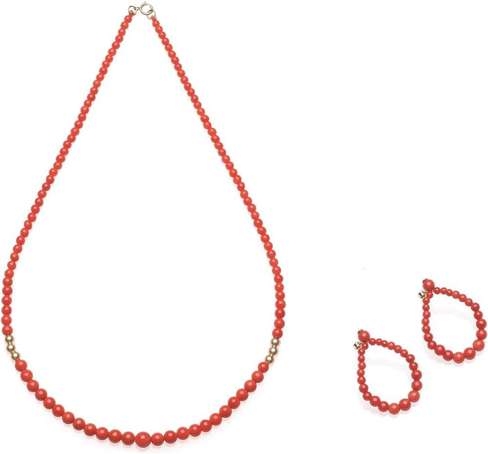 Antonino de simone, set gioielli con sfere in corallo ,orecchini piu` collana O1052 C1061