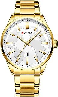 ساعة يد Andoer 8366 للرجال مضادة للماء تقويم كوارتز ساعة المعصم حالة سبائك الفولاذ المقاوم للصدأ