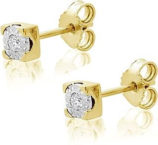 ∞ Pendientes Mujer Oro y Diamantes - Oro Amarillo 9 Kt 375 ∞ Diamantes 0.03 Kt
