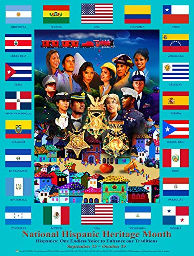 National Hispanic Heritage Month Poster with Hispanic Country Flags (H18)