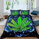 Juego de ropa de cama con diseño de hojas de cannabis, diseño de mandala de galaxia, funda de edredón y funda de edredón con 1 funda de almohada, 2 piezas para cama individual