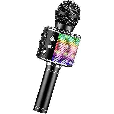 Micrófono Karaoke Bluetooth, Microfono Inalámbrico Karaoke con Altavoz y LED, Karaoke Inalámbrico Bluetooth para niños, niñas Canta Partido Musica, adultos Casa KTV Party para Android/ Iphone/ PC (Negro)nueva versiónYO-L-002