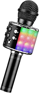 Micrófono Karaoke Bluetooth, Microfono Inalámbrico Karaoke con Altavoz y LED, Karaoke Inalámbrico Bluetooth para niños, ni...