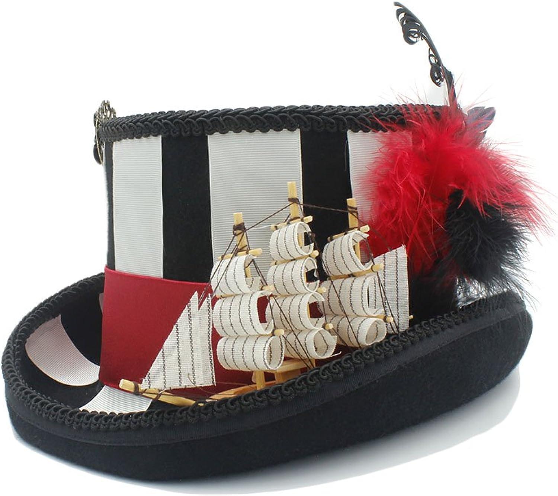 Las ventas en línea ahorran un 70%. YQXR Moda Sombreros Sombreros Sombreros Papel de pirata para dama jugando con gorro 100% lana steampunk (Color   Negro, Talla   59CM)  100% precio garantizado