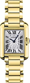 Tank Anglaise Silver Dial 18kt Yellow Gold Ladies Watch W5310014