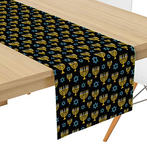 Q-Beans Decorative Table Runner [Size: 16' x 120' inch], Washable and Reusable for Kitchen, Dining Room, Indoor and Outdoor (Hanukkah Menorah Religious)