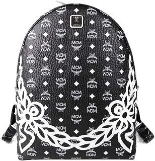 MCM Unisex Black White Dietrich Laurel Monogram Medium Visetos Backpack MMK8SDI05BV00