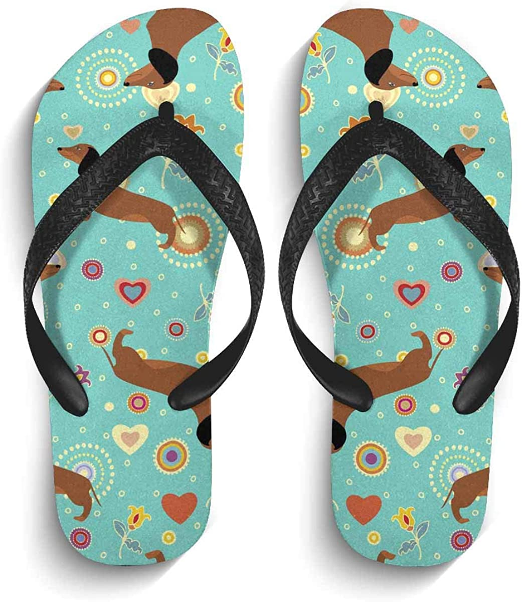 InterestPrint Men's Non-Slip Flip Flops Cute Dachshunds on Turquoise Floral Background Thongs Sandals for Beach Lounging Home