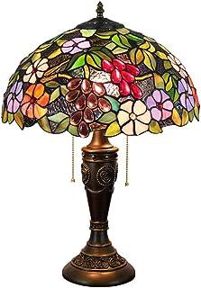 POOPFIY Lampe de Table 16 inches Tiffany, Corps de Lampe en Bronze Classique européen, Abat-Jour en Verre teinté éclairage...