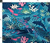 Spoonflower Stoff – Scuba Teal Delfin Fisch Frau