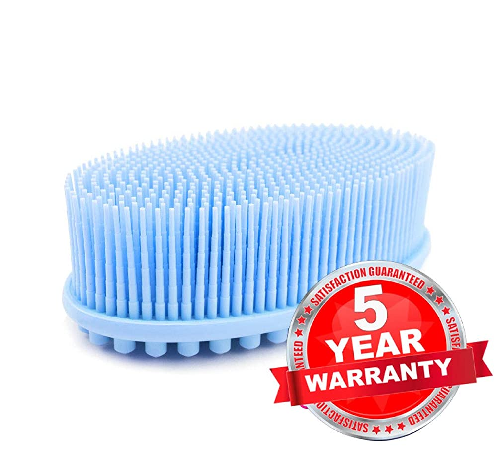 (1Pack -Blue) Avilana Loofah Exfoliating Body Scrubber 2 in 1 Face And Body Silicone Scrubber - Antibacterial Silicone Shower Brush Loofa - 5 Year Warranty