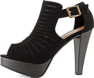 b641f139cd Guilty Shoes Womens Cutout Gladiator Ankle Strap Platform Block Heel  Stiletto Sandals